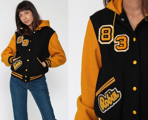 1983 Letterman Jacket ROBIN Varsity Jacket Hooded WOOL Jacket 80s Baseball Coat Black Cheerleader Uniform Vintage Jock Extra Small xs