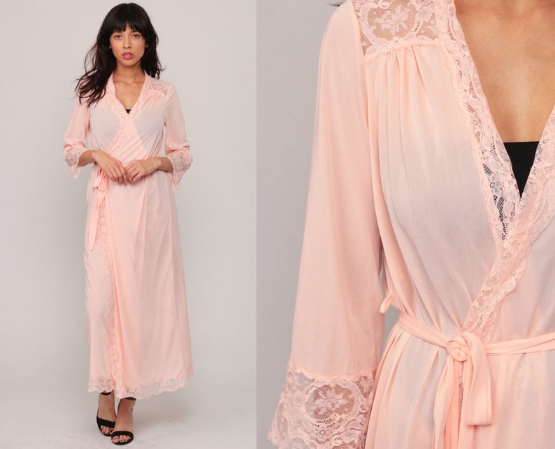 d634b5c7e2 Sheer Pink Robe Long Lingerie Jacket WITH BELT 70s Pastel Pink