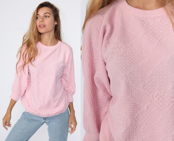 Pink Crewneck Sweatshirt 80s Sweatshirt Textured Zig Zag Long Sleeve Shirt Slouchy 90s Vintage Sweat Shirt Medium
