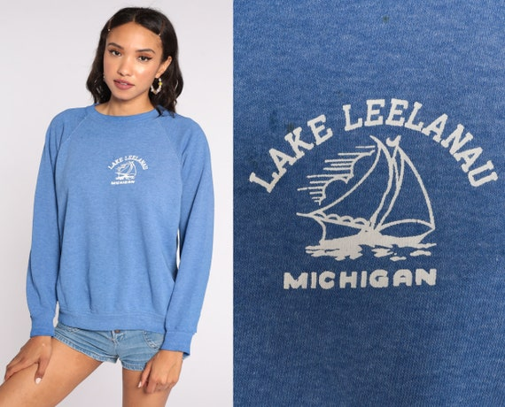 Lake Leelanau Shirt 80s Nautical Michigan Sweatshirt Boat Sailboat Raglan Retro Slouchy Jumper Pullover 1980s Vintage Medium Large