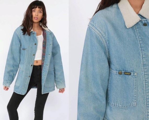 Wrangler Jacket Denim 80s Jean Jacket Boho CORDUROY COLLAR Coat Blanket Lined Vintage Oversize Bohemian Medium Large