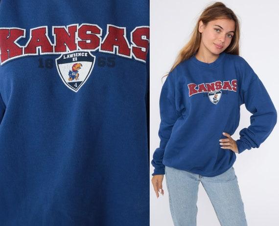 Kansas Jayhawks Sweatshirt University Sweatshirt 90s Football KU City Graphic College Sweater Vintage Blue Men's Large L