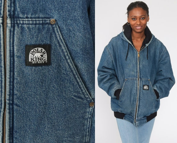 Hooded Denim Jacket Workwear Jean Jacket Polar King Jacket 90s Jean Hoodie Blue Coat Hood Vintage Work Wear Zip Up Men's Extra Large xl
