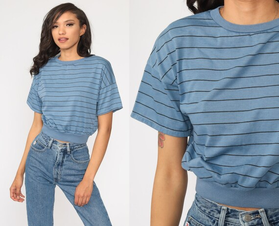 80s Striped Shirt -- Blue Slouchy Shirt Crewneck Crop Top Vintage Slouch Short Sleeve Small