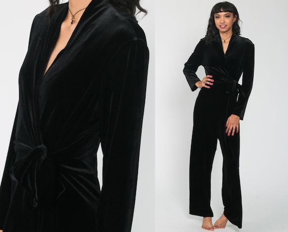 Velvet Wrap Jumpsuit 90s Jumpsuit Bell Bottom Pants Black Romper One Piece Pantsuit Vintage Romper V Neck 1990s Long Sleeve Small Medium