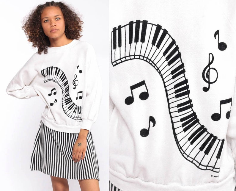 9881d3a51a Piano Dress One Piece Sweatshirt Attached Skirt 80s Stripe | Etsy