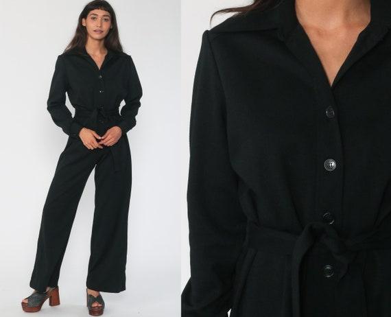 Black Jumpsuit Wide Leg Pants 70s Boho Bell Bottom Bohemian One Piece Button Up 1970s Long Sleeve Vintage Pantsuit Medium Large