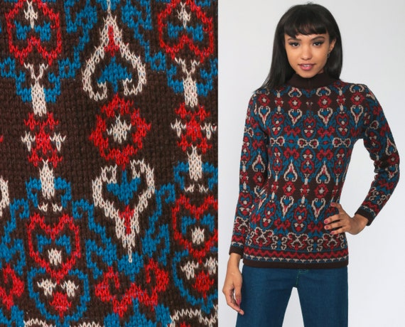70s Sweater Boho Mod Geometric Red Blue Knit Op Art Vintage 1970s Bohemian Pullover Retro Hippie Sweater Extra Small xs