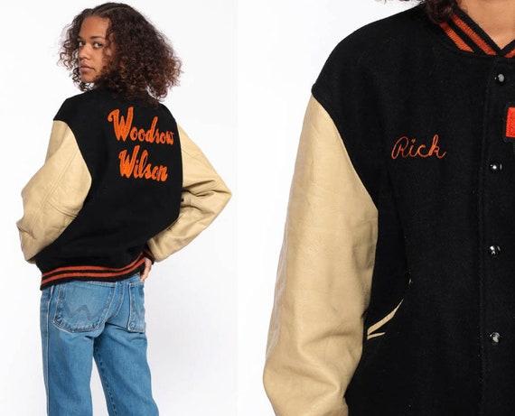 Black Letterman Jacket WOODROW WILSON School Jacket 70s Wool Varsity Jacket LEATHER Football Jacket Bomber Coat 1980s Vintage Medium Large