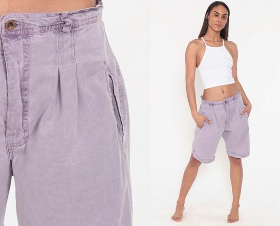 80s Pleated Mom Shorts Pastel Purple 80s Shorts Retro High Waisted Baggy Cargo Boho 90s Hipster Vintage Pockets Medium 30