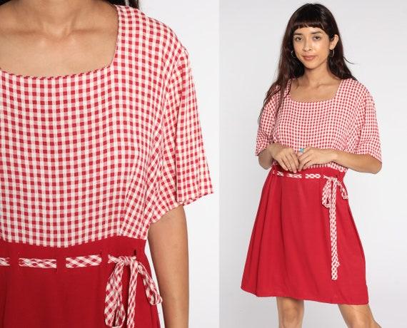 90s Gingham Dress -- 1990s Red Grunge Mini Dress Checkered Print Short Sleeve High Waist Plaid Vintage MiniDress Extra Large xl