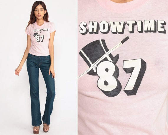 1987 Shirt SHOWTIME Graphic Tee Shirt Vintage 80s Tshirt Paper Thin 87 Retro T Shirt Screen Print 1980s Baby Pink Extra Small xs