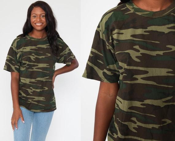 Camo T Shirt Army TShirt CAMOUFLAGE Shirt 80s Ringer Green Hunting Military Tee Green 1980s Retro Tee Vintage Medium Large