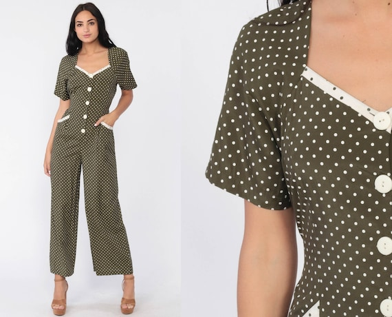 Wide Leg Jumpsuit 90s Polka Dot Print Olive Green Secretary Grunge Boho Fitted Pantsuit Button Up Vintage Romper Pants Rayon 1990s Small