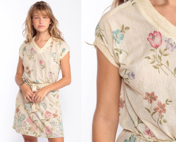 Sheer Floral Dress Mini Bohemian 70s Boho Dress Hippie High Waisted Vintage Cap Sleeve Romantic V Neck Beige Summer Medium