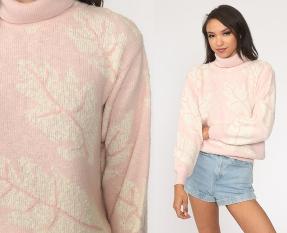 Baby Pink Sweater 80s TURTLENECK Sweater Leaf Print Sweater Pastel Pullover Jumper Vintage Medium