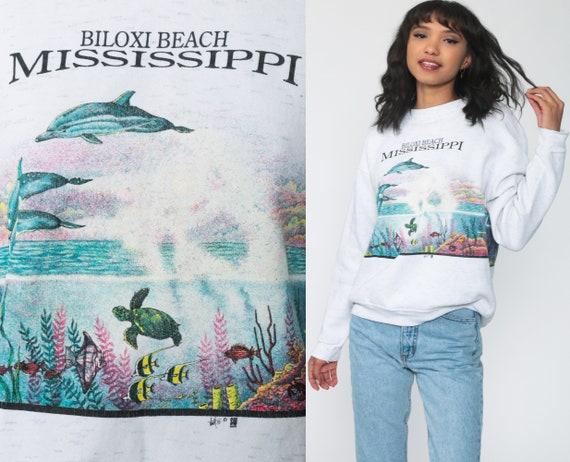 90s DOLPHIN Sweatshirt Biloxi Beach Mississippi Shirt Tropical Fish Shirt Animal Print Jumper Slouchy 1990s Sweater Vintage Medium Large