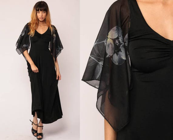 Boho Maxi Dress 70s Bohemian Black ANGEL SLEEVE Maxi Party Festival Floral Print Bell Sleeve Hippie Gothic Vintage Goth Extra Small xs