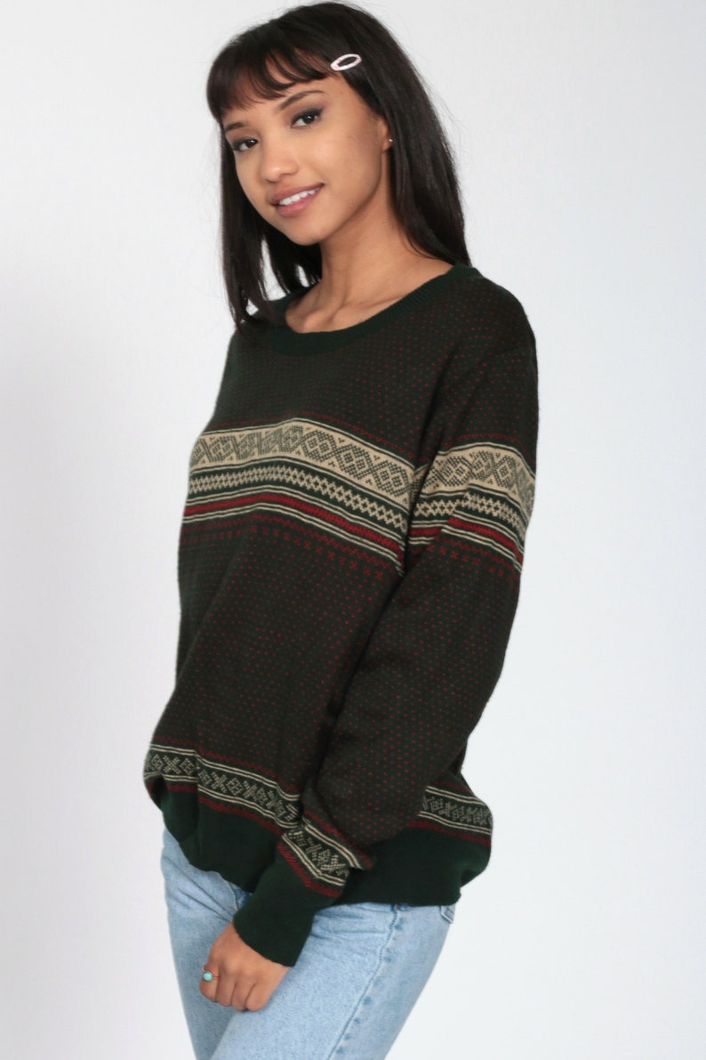 Fair Isle Sweater 80s Dark Green Nordic Sweater Slouchy Sweater Knit Grunge Striped 1980s Retro Boho Pullover Sweater Jumper Men/'s Medium
