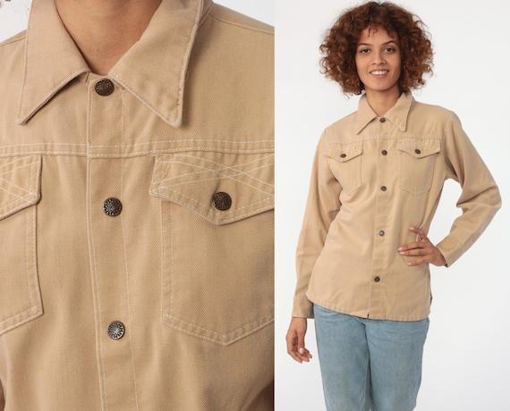 70s Tan Shirt Snap Up Shirt Medium Weight Cotton Brown Boyfriend Oxford Button Up Long Sleeve Top 1970s Collared Plain Small 4