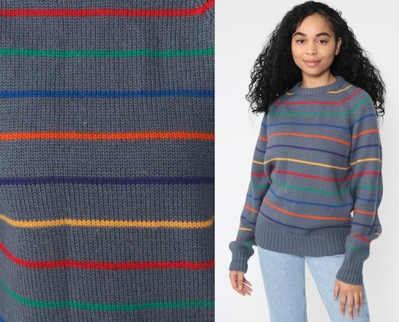 Grey Sweater 80s Slouchy RAINBOW Striped Knit RAGLAN Sleeve Jumper Pullover 1980s Boho Slouch Vintage Retro Bohemian Medium Large