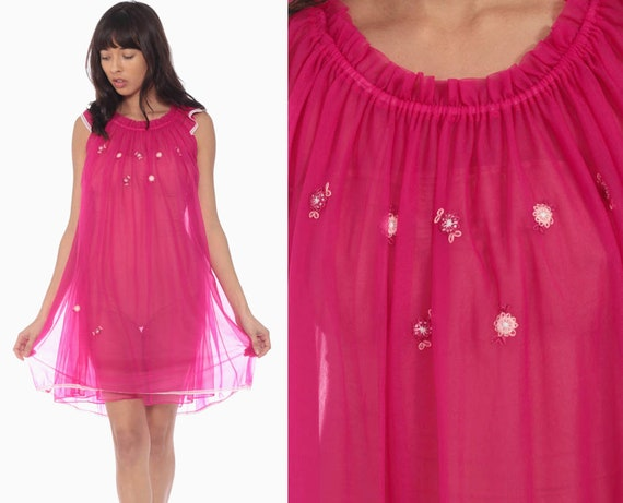 Sheer Pink Nightgown Lingerie Slip Dress 70s Babydoll Midi Nightie Tent Trapeze Filmy Nylon Boho Vintage Small Medium