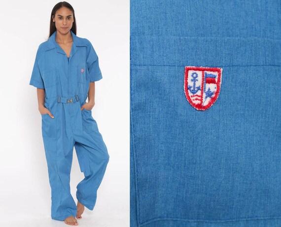80s Work Coveralls Zip Up Jumpsuit Pants Uniform Outfit 90s Light Blue One Piece Work Wear Short Sleeve Vintage Pantsuit 1990s Large