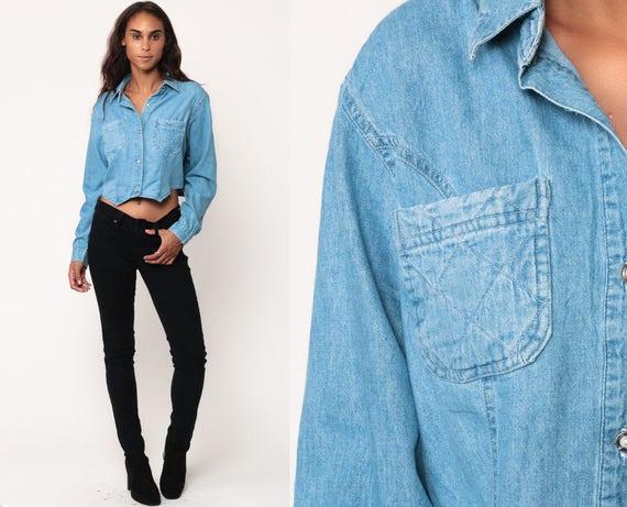 Denim Blouse 90s Grunge Shirt Jean Shirt Crop Top Button Up Top Vintage 1990s Long Sleeve Blue Medium Large