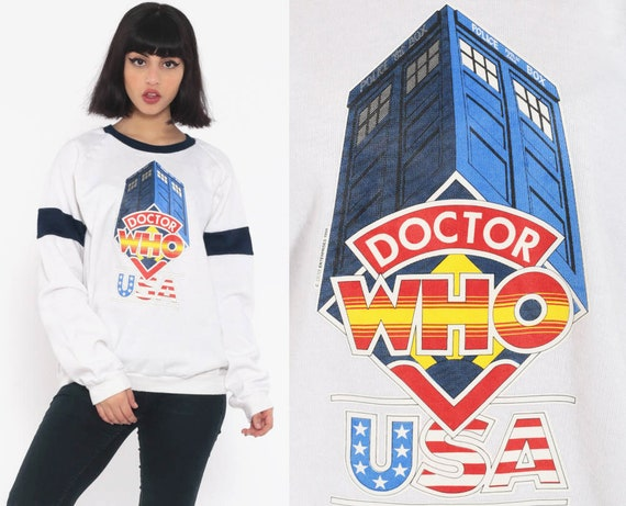 Doctor Who Sweatshirt 80s Sweatshirt USA Tv Series Graphic Raglan Sleeve Slouchy 1980s Vintage Pullover Jumper Medium Large
