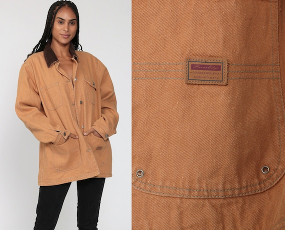 Work Wear Jacket 90s PLAID Lined Jacket Tan CORDUROY COLLAR Barn Jacket Chore Coat Vintage Workwear Heavy Cotton Field Jacket Extra Large xl