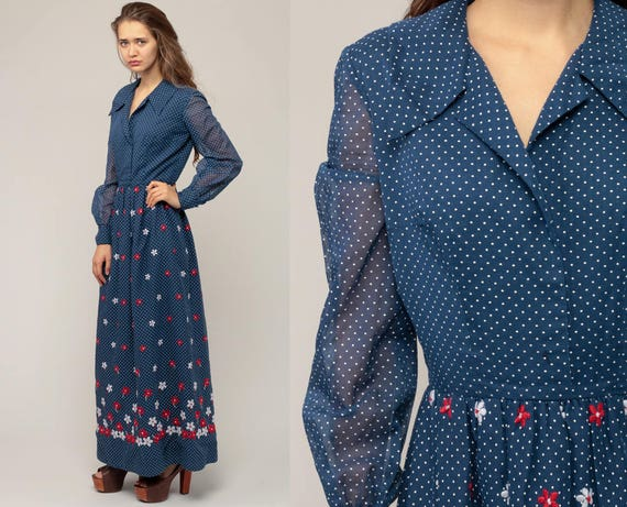 Boho Maxi Dress EMBROIDERED Floral 70s Blue Polka Dot Long Sheer Sleeve Hippie High Waist 1970s Vintage Bohemian Retro Small Medium