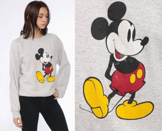 80s Mickey Sweatshirt -- Disney Sweater Mickey Mouse 90s Grunge Shirt Cartoon Graphic Print 1980s Heather Grey Retro Kawaii Small Medium