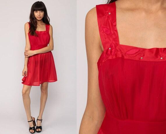 Red Nightgown 60s Lingerie Nightgown RED Slip Dress SHEER Nylon Mini RHINESTONE Heart Pinup 1960s Vintage Boho High Waist Medium