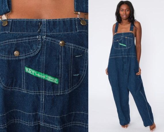 Key Overalls Pants Bib Overall 90s Denim Pants Jean Dungarees KEY IMPERIAL Wide Leg Baggy Coveralls Long Grunge Blue Carpenter Men's 54 3xl