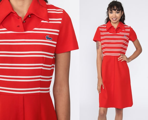 Vintage LACOSTE Dress 70s Mini Red Striped Dress Tennis Dress Polyester High Waisted Crocodile Preppy 1970s MiniDress Short Sleeve Small