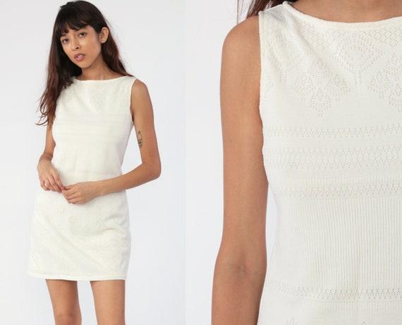 White Mini Dress CUTOUT Dress Sheath Dress 90s Boho Cut Out Dress Bohemian Sleeveless Vintage 00s Simple Plain Shift Minimalist Small
