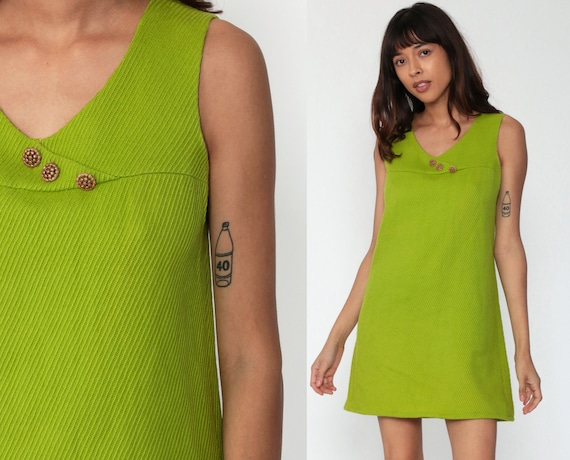 Wool Shift Dress 60s Lanz Originals 1960s Mini Mod Scooter Lime Green Vintage Sleeveless Mad Men Classic Sixties Minidress Small 4