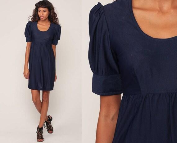 60s Babydoll Dress Mod Mini Puff Sleeve Lolita Dolly 1960s Vintage Empire Waist Navy Blue Minidress Extra small xs