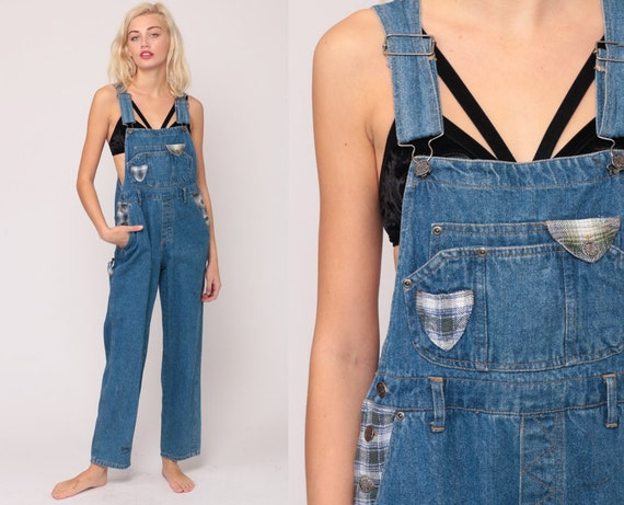 Patchwork Overalls Pants 90s Denim Plaid Patch Coveralls GRUNGE Dungarees Bib Overalls Blue Long Jean Vintage Carpenter Medium