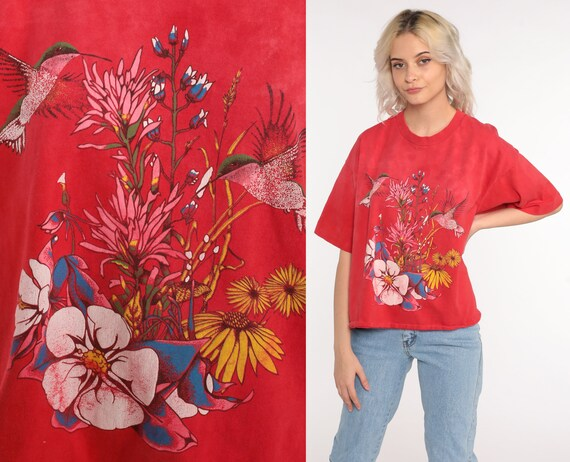 Hummingbird Tshirt 90s Bird Shirt Floral Tshirt Red Faded Vintage Retro T Shirt Boho Tee 1990s Graphic Medium Large
