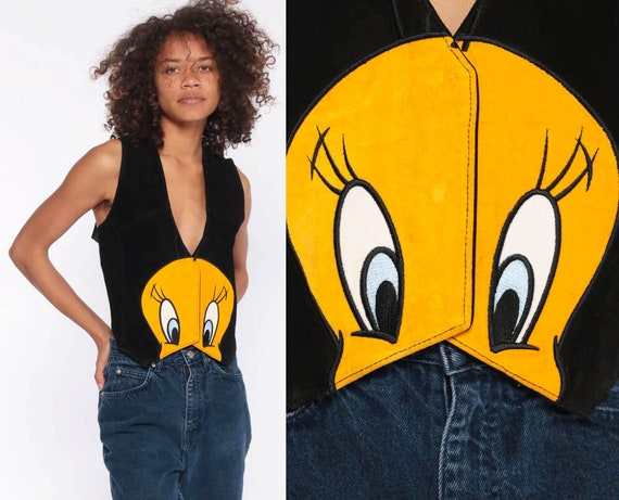 Suede Tweety Bird Vest -- 90s Looney Tunes Vest 1990s Streetwear Suede Leather Vest Black Leather Warner Bros Button Up Small Medium