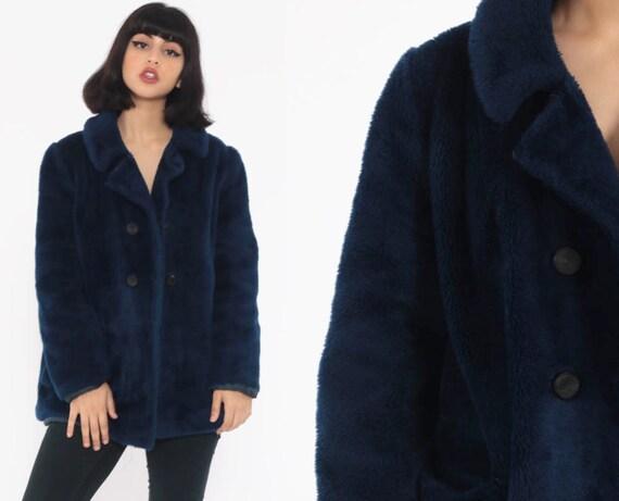 Blue Faux Fur Coat 70s PEACOAT Double Breasted Jacket Fake Fur Mod Pea Coat Jacket 1970s Babydoll Mod Fuzzy Vegan  Vintage Medium Large