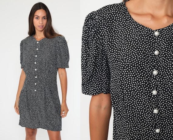 80s Mini Dress Black Polka Dot 90s Grunge Short Puff Sleeve Dress Button Up 1980s Vintage Shift Retro Princess Seam Large 12