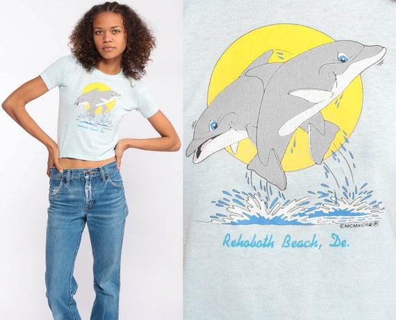 80s Dolphin Shirt -- Rehoboth Beach Shirt Graphic Tshirt Retro T Shirt Delaware Vintage Beach Top Under The Sea Tee Extra Small xs xxs