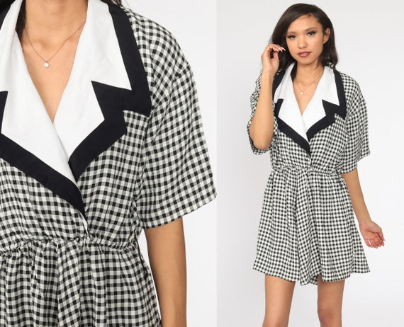 Gingham Dress Black and White 80s Mini Dress Wrap High Waisted Checkered Dress 1980s Secretary Short Sleeve Vintage Pocket Large