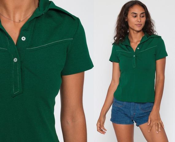 Green Polo Shirt 70s Half Button Up Shirt Collared Short Sleeve Geek Retro Shirt Plain Forest Green Top Disco Vintage 1970s Small
