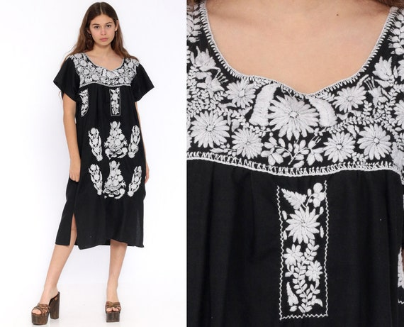 Black Mexican Dress Midi Embroidered Boho Cotton Tunic Hippie Floral Ethnic Bohemian Vintage White Embroidery Traditional Large