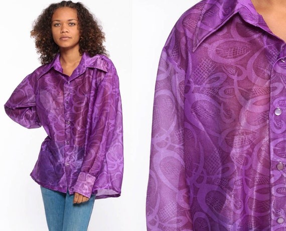 70s Boho Shirt Psychedelic Blouse Purple Sheer Top Hippie Vintage Bohemian Button Up Long Sleeve Extra Large xl l