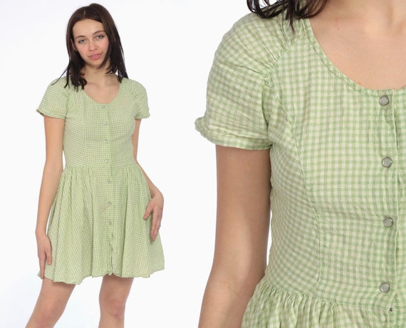 90s Green Gingham Dress -- 1990s Grunge Mini Dress Checkered Print Short Sleeve Snap Up High Waist Plaid Vintage MiniDress Extra Small XS