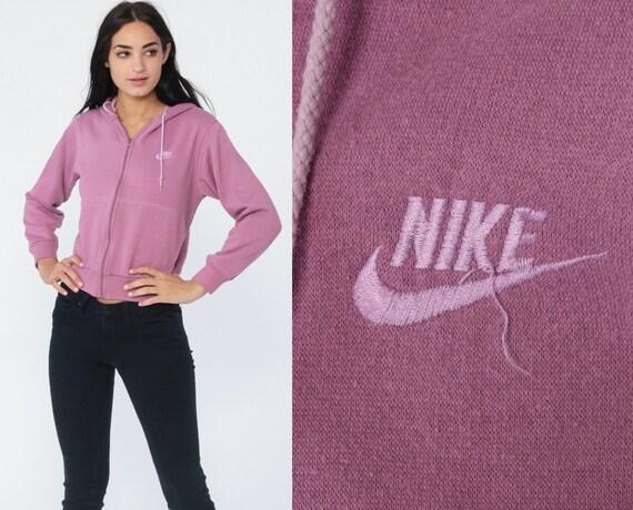 Nike Hoodie Sweatshirt 80s Purple Hooded Zip Up Sweatshirt Retro Hood 90s Sports Athletic Vintage Cropped Slouch Extra Small xs